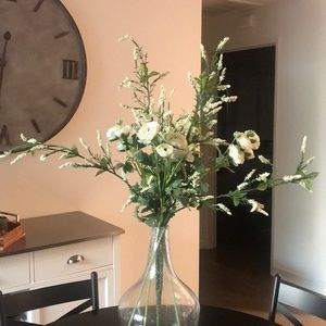 Faux flower stems with white flowers